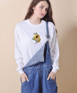 White Sunflower Patch Hippy Top