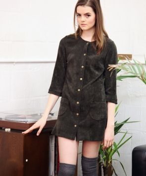 Willow Olive Corduroy Shift Dress