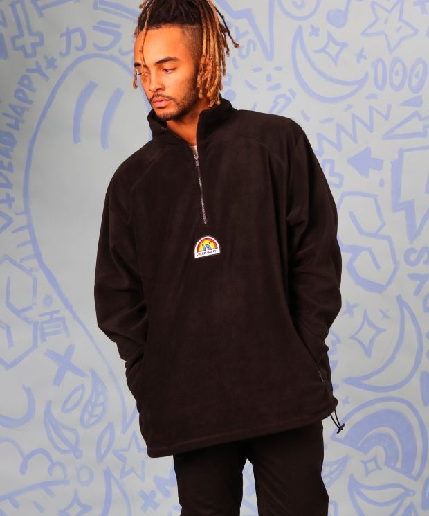 Black 1/4 zip fleece with embroidered Dead Happy rainbow patch