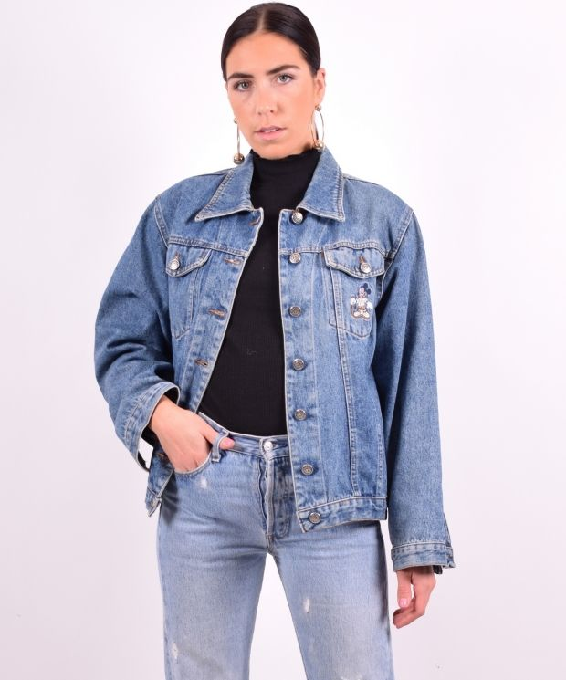 Womens Vintage Denim Jacket Medium Blue 90's