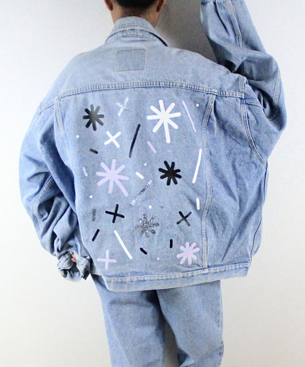Fun and unique magic star dust reworked vintage denim jacket