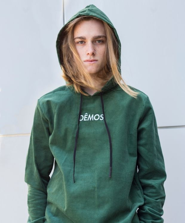 Demos Green logo corduroy Hoodies