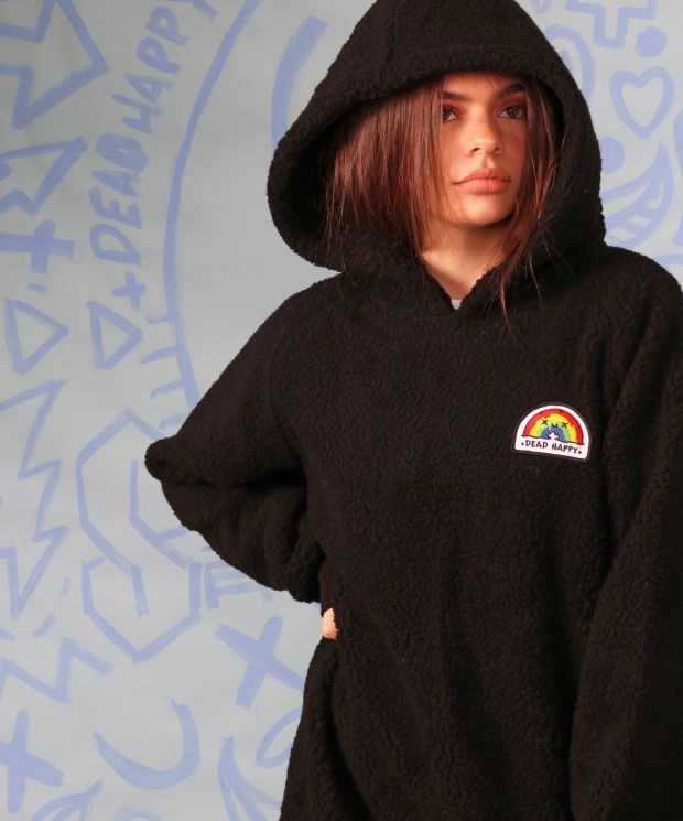 Black sherpa hoodie with +DEAD HAPPY+ patch