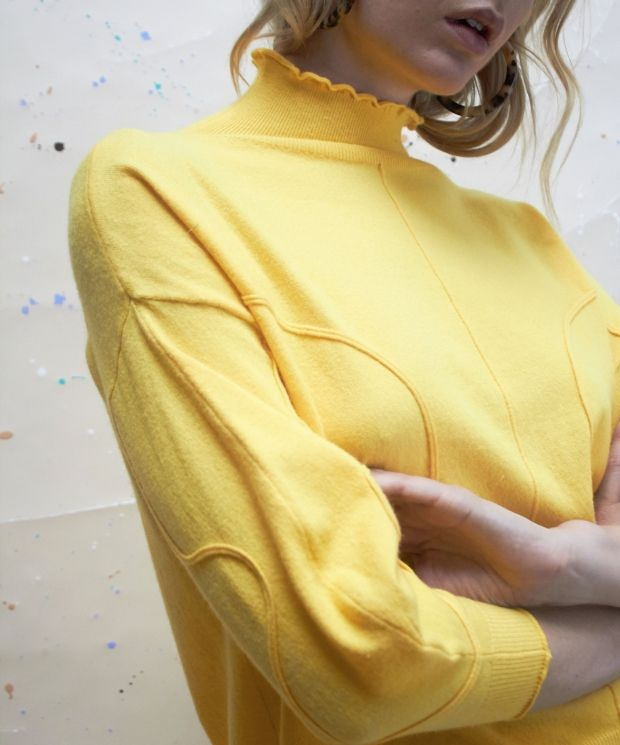 Exclusive Volume Jumper with Pipe Detail in Marigold