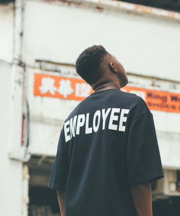 Black oversized employee tee