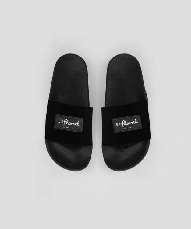 54 Floral Supreme Pool Sliders - Black