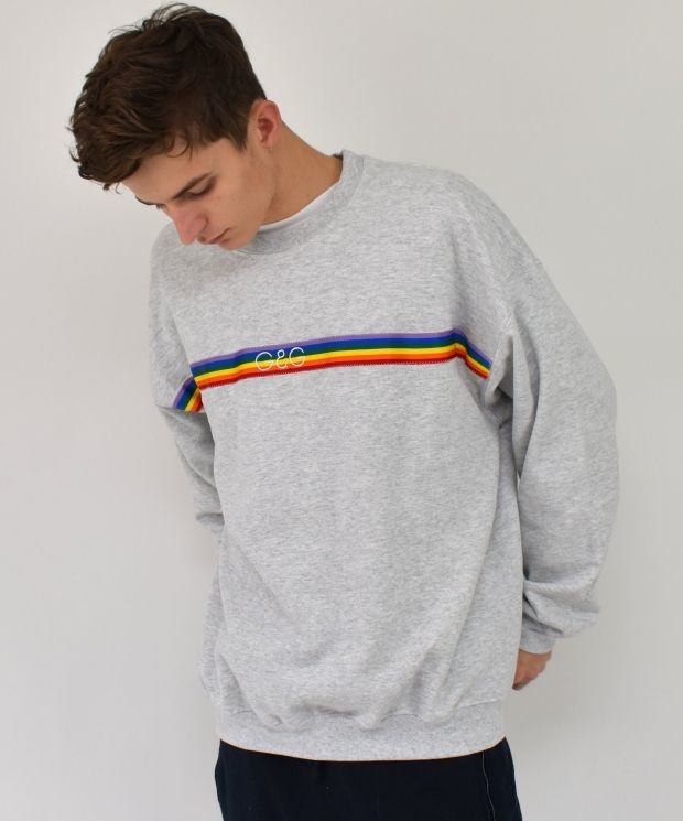 G&G Unisex Ash Rainbow Ribbon Sweat
