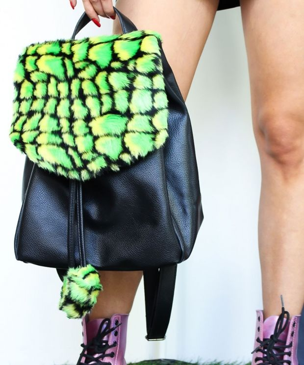 Acid Croc Faux Fur Backpack