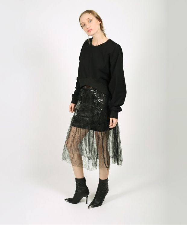 Black Layered Lace and Clear PVC Skirt