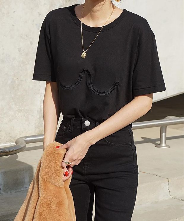 Arch embroidered Organic Cotton & bamboo Black T Shirt