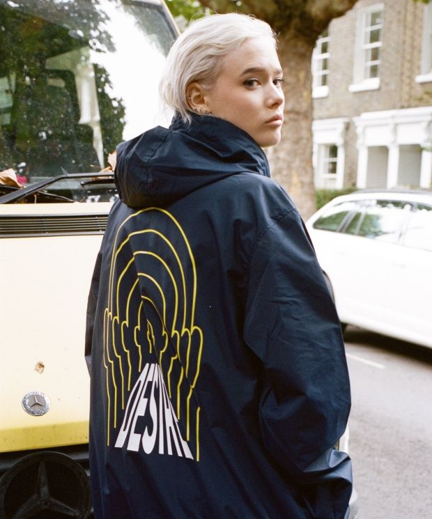 DBDNS Navy Windbreaker Jacket With Desire Print