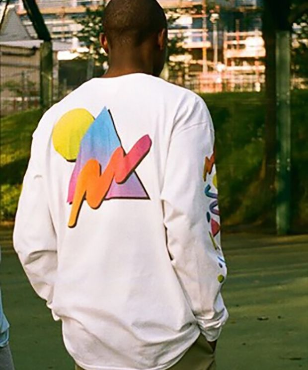 DBDNS Colourful 90s Gradient Design On White Long Sleeved T-shirt