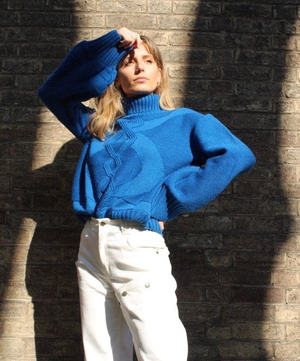 Turtle Neck Cable Knit Jumper in Intense Blue