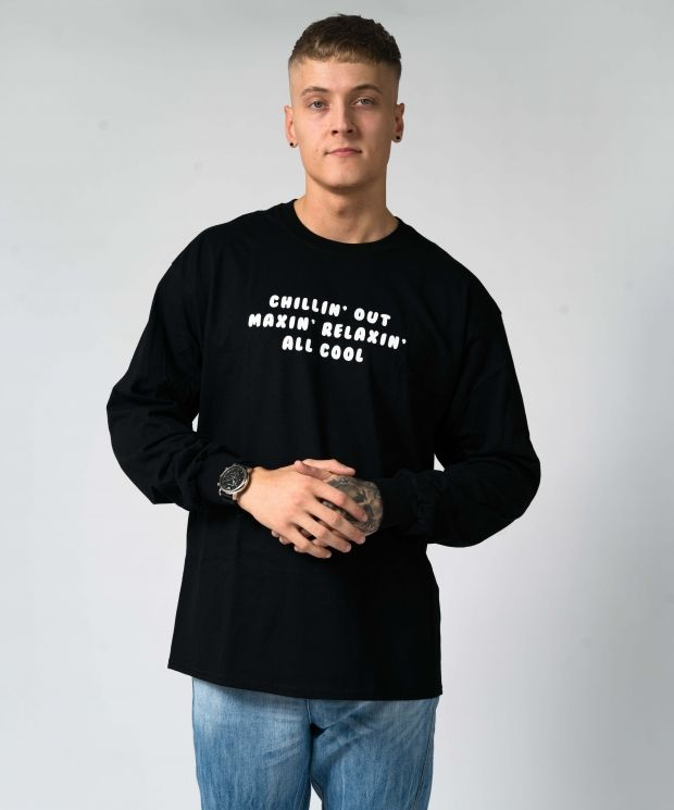 Black Oversized Cozy Fresh Longsleeve T-shirt