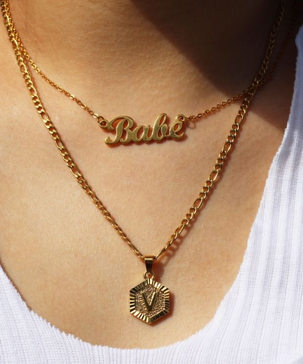 'Babe' Calligraphy Necklace Gold Plated