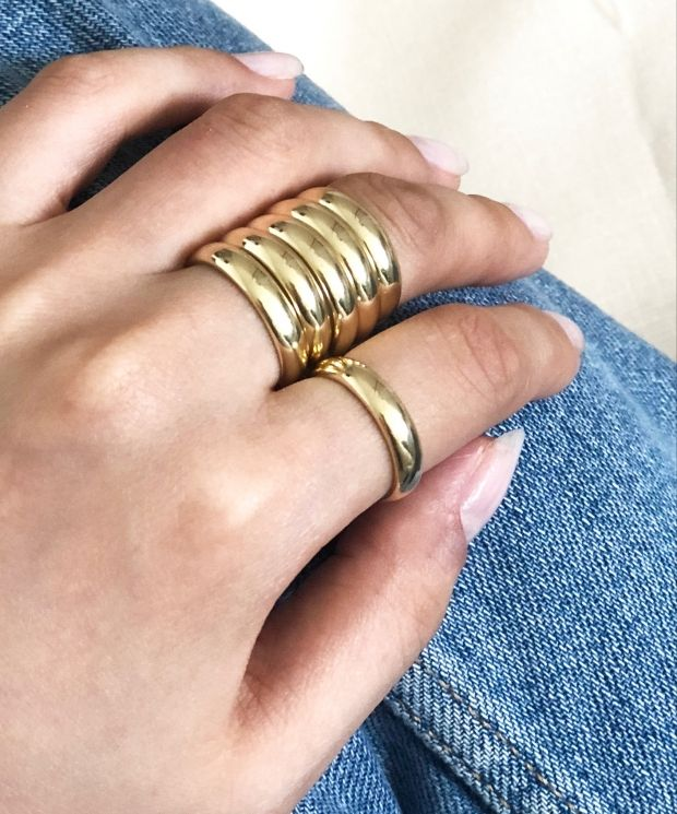 Plain Chunky Stackable Band Ring Gold Plated