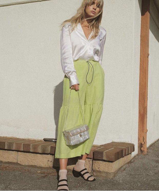 Fit and flare culottes in fizzy green