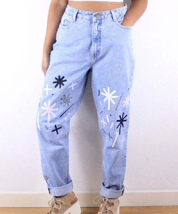 Fun and unique magic star dust reworked jeans