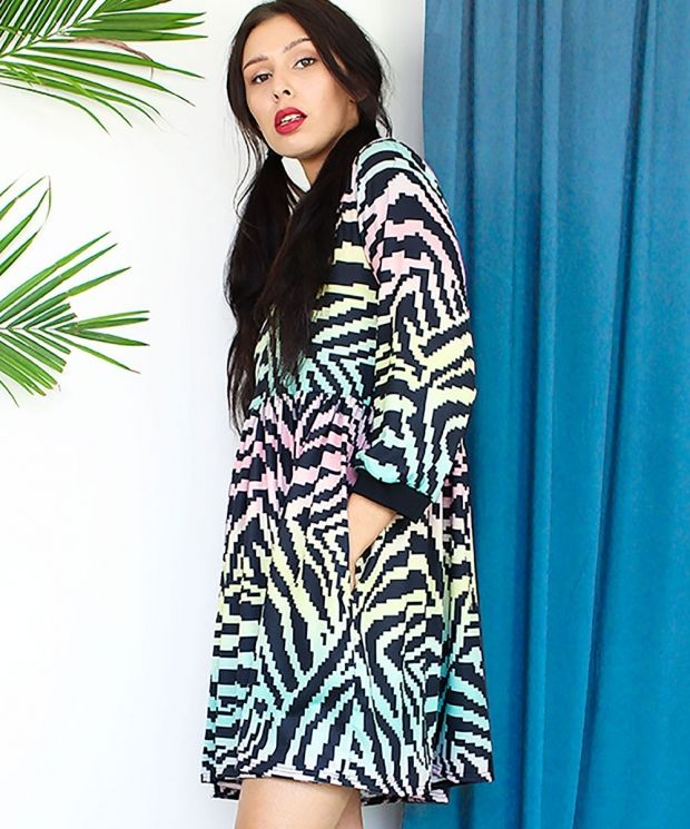 Rainbow Zebra Smock Dress