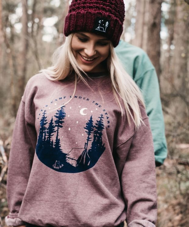 Camping Under The Stars Heather Damson Sweatshirt