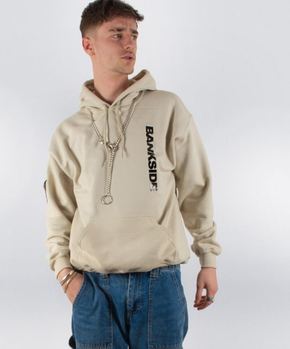 Bankside Sand 3D Logo Hoodie with Sleeve Detail