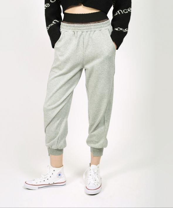 Grey Jogger Trousers with Fishnet Detail