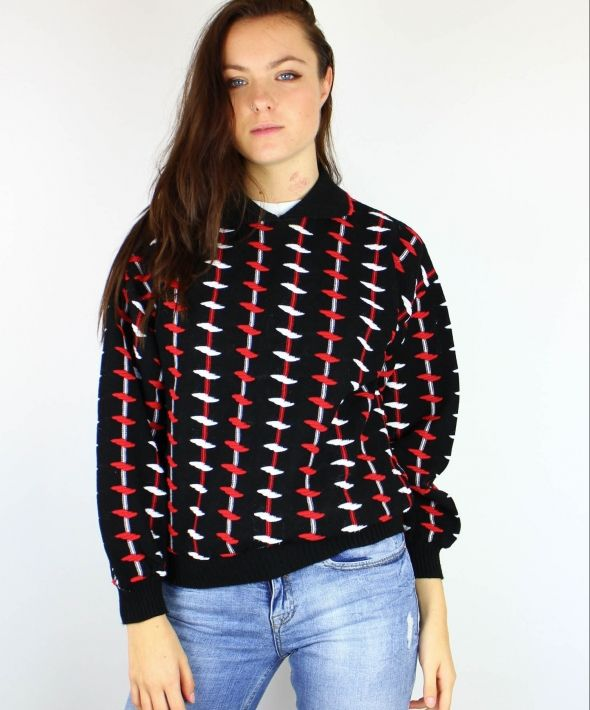 Vintage Textured Patterned Knit Jumper Top with Collar 4073693