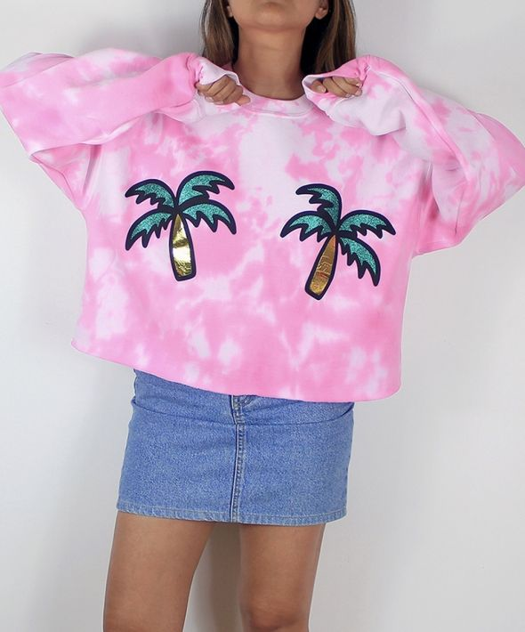 Double palm tree tie dye cropped jumper in pink
