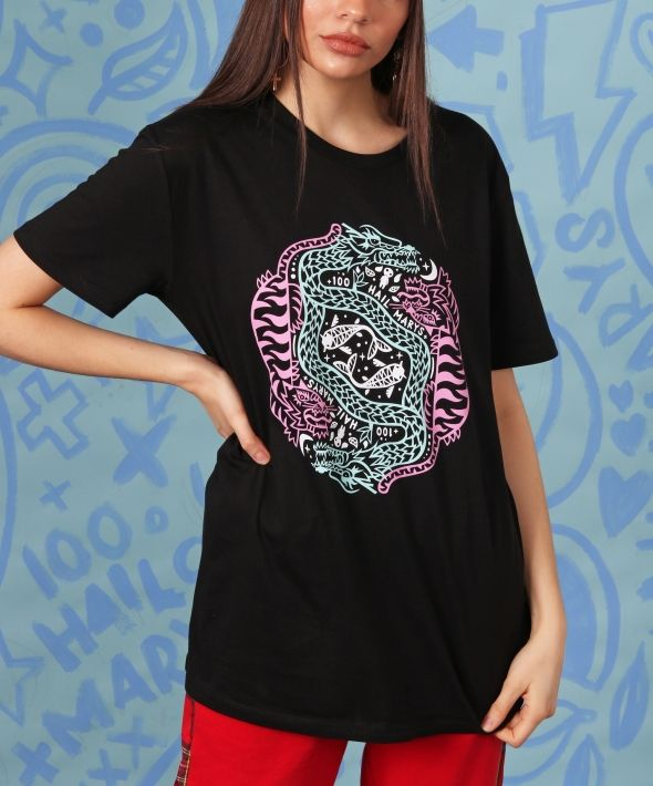 MYTHICAL CREATURES black tshirt with 3 colour graphic print