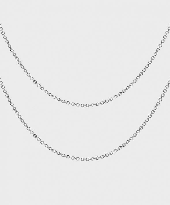 54 Floral Keena Dual Necklace Chain - Silver