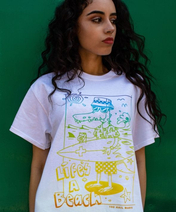 Life's A Beach white tshirt with colour graphic