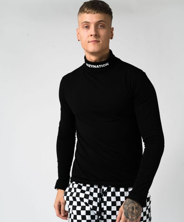 Black Cozy Goods Stretch Roll Neck