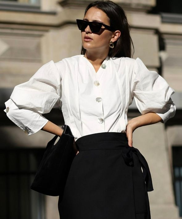 Refined Shirt with Scarf Detail in Mineral White