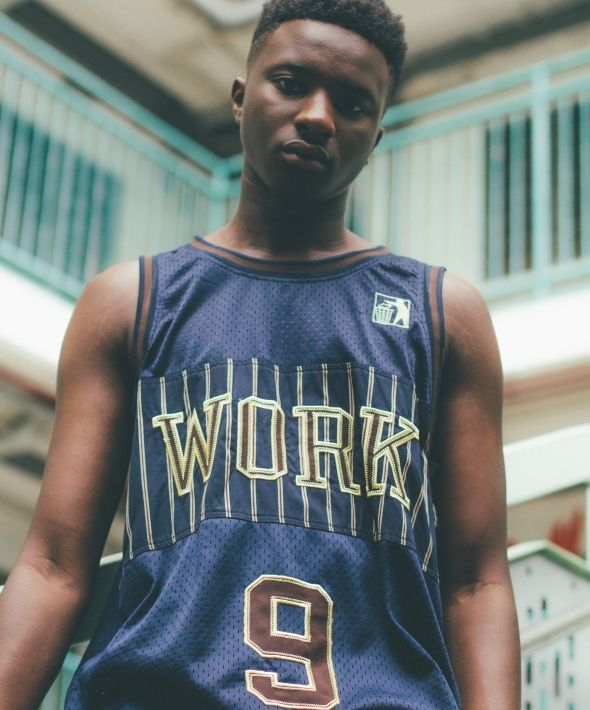 Navy work long basketball jersey