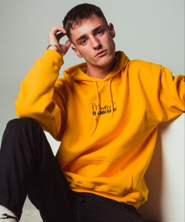 Embroidered Skyline Hoodie Yellow