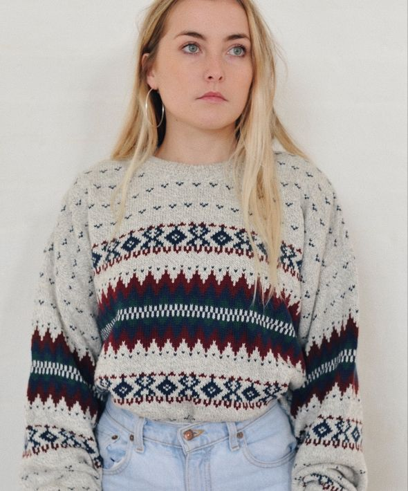 Vintage 90's Abstract Pattern Knit Nordic Cream Jumper