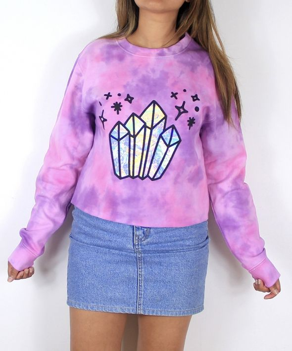 Magic crystals tie dye cropped jumper in galaxy pink/purple