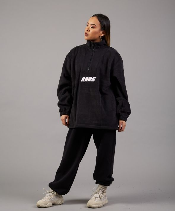 Catch a Cold Oversized Black Zip Fleece