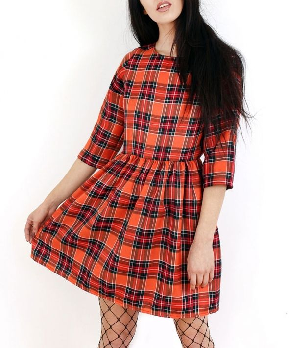 Orange Tartan Skater Dress