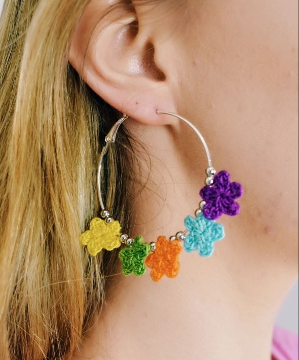 Tropical tiny crocheted flower Hoops