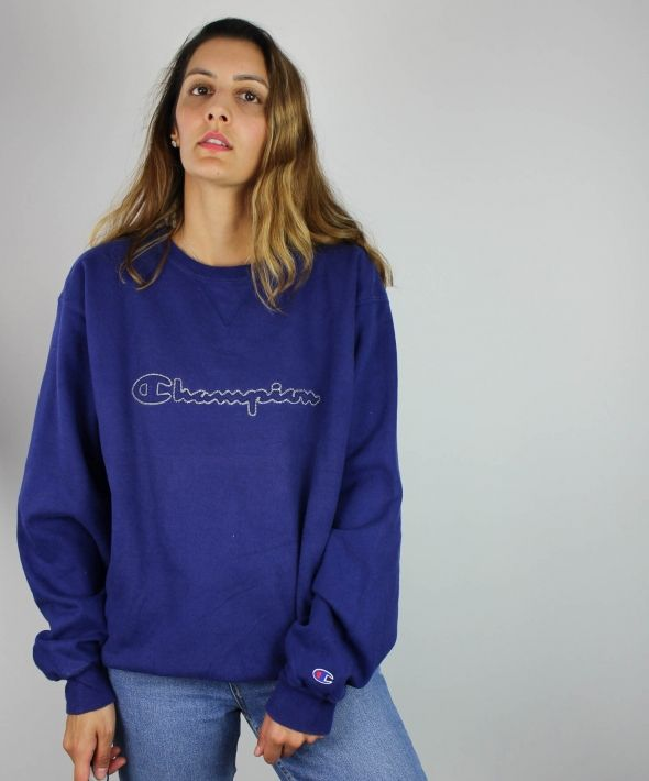 Vintage Champion Sweatshirt w Spell Out Logo Front & Sleeve 4373600
