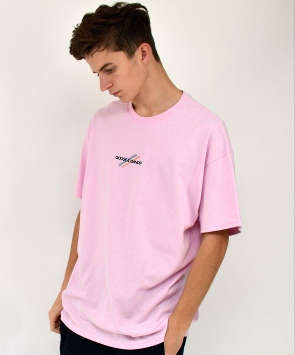 G&G Unisex Baby Pink S/S Pastel Multi Lines Tee