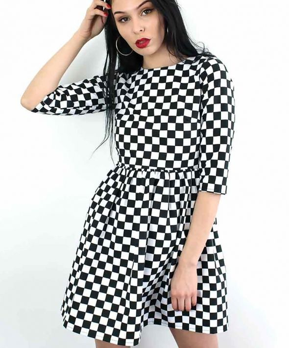 Checkerboard Skater Dress