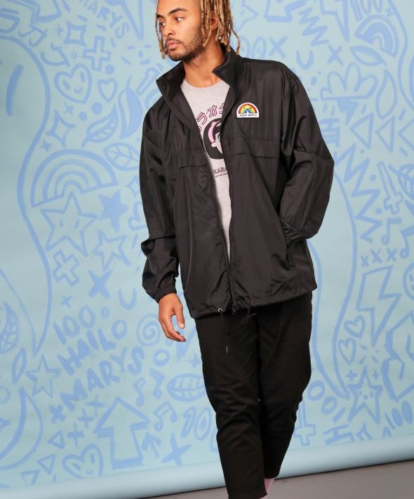 Windbreaker hooded raincoat with Dead Happy Embroidered Patch
