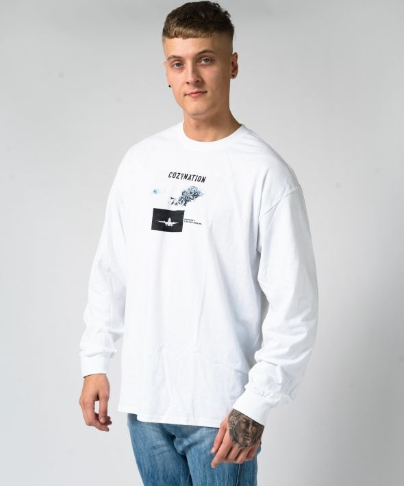 White Oversized Mile High Longsleeve T-shirt