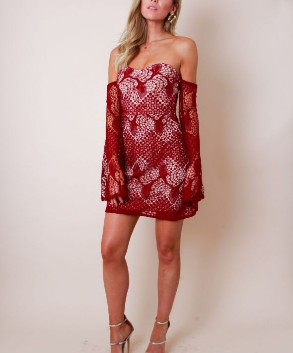 Lace Bell Sleeve Bandeau Dress - Red