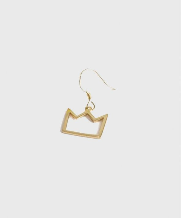 Gold Plated Silver Crown Hook Earring