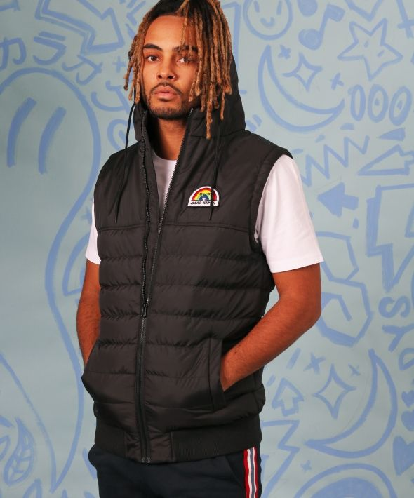 Black body warmer gilet with +DEAD HAPPY+ patch