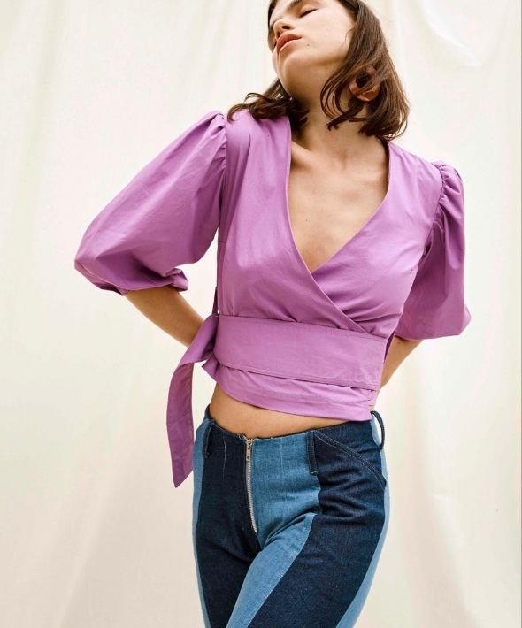 Wrap Top with Balloon Gathered Sleeves In Magenta