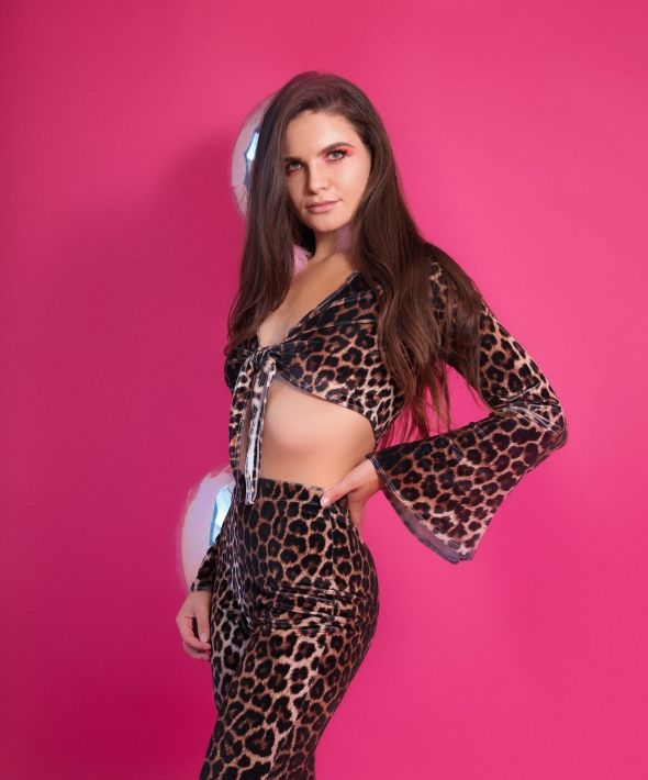 EM'S THE LABEL Kitty Leopard Velvet Tie Up Flared Crop Top